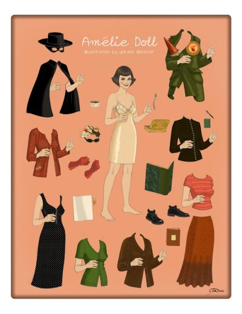 I feel eight again, after catching a glimpse of this wonderful Amelie paperdoll.  I remember watching this film regretting I took Spanish in school and not French.  Since I can't get to Paris any time soon, I will settle for this nifty doll set. My Amelie Paper Doll has been published in Lone Wolf Magazine! Look here for a preview. They have both print & digital versions!