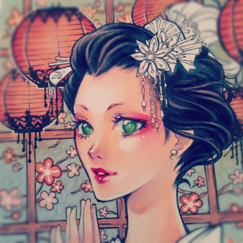 nao-ren:  detail of my #geisha #drawing - last #wip I promise XD done with #prismacolor colored pencils and #copic markers (Wurde mit Instagram aufgenommen)