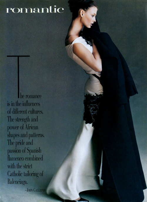 "lalinda-evangelista:  ""Fashion's four schools"" - Vogue US, July 1995, ph. Steven Meisel"