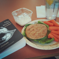 Lunching: turkey on whole wheat flax & fiber sandwich thin, baby carrots & Greek yogurt onion veggie dip. Lotsa water. + 50 Shades Darker.  Yummy on ALL accounts.
