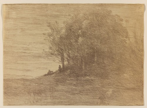 Le Bois de L'Ermite, 1858Jean-Baptiste Camille Corot, French, 1796 - 1875Cliche-verre in bistre-brown on wove paper, Overall: 16.6 x 22.8 cm,Gift of the Dorothy Isabella Webb Trust in Memory of Sir Edmund Walker, the first President of the Art Gallery of Ontario (1900-1924), 19892012 Art Gallery of Ontario