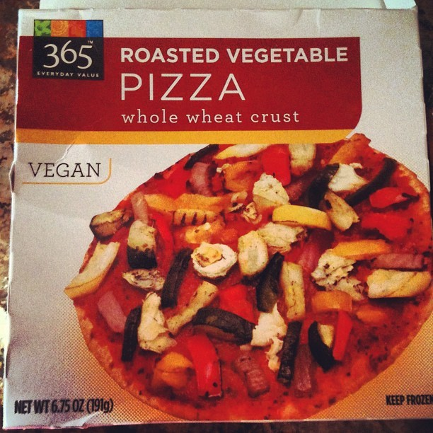 365 Whole Wheat Roasted Vegetable Pizza @ Whole Foods 150 calories (whole personal size pizza) 2g total fat 380mg sodium 29g total carbs 6g protein - THE SKINNY: Pizza. One of those foods you never thought there would be a healthy version of. Well that's until the 365 Everyday Value brand from Whole Foods came up with this personal size pizza. It's so tasty and it's got a spicy kick to it. It's perfectly proportioned to fill you up without overdoing it. Plus with only 150 cals, 2g of fat, and very low sodium for what it's worth, it's worth a lot.