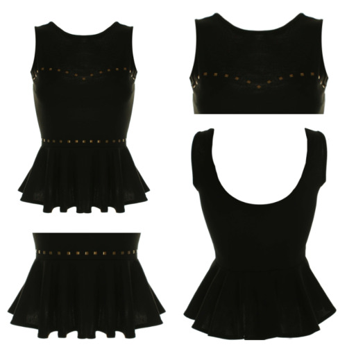 New at inlovewithfashion.com  LOVE BLACK STUDDED PEPLUM TOP I really like this top.  You can dress it up or you can even get some skinny leather pants and high heels to get that sexy look.  This top is an absolute trend, the studs and the the back is what I love the most.