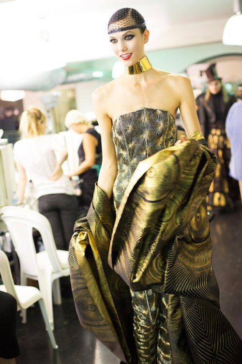 ‎Karlie Kloss at backstage of Jean Paul Gaultier Haute Couture Fall 2012 Show. Photographed by Kevin Tachman.