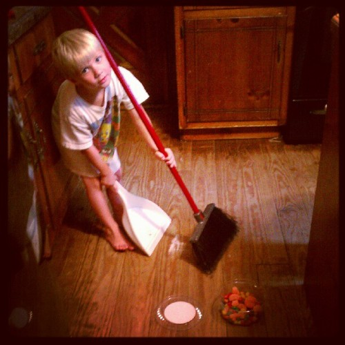 Learning to clean up his own mess…  (Taken with Instagram)