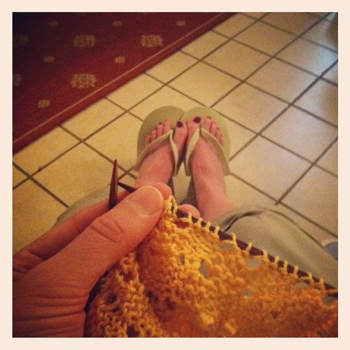 Knitting while drying. These flip flops are the most dangerous footwear ever. #knitting #lace #iphone #pedi #summer2012 #funcolors #barefootknitting  (Taken with Instagram)