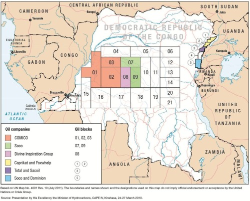 A map showing Central Basin and Eastern Congo oil blocks in the Democratic Republic of Congo, and the companies operating in them.  Click through to read our full report on oil and conflict in DR Congo, Black Gold in the Congo: Threat to Stability or Development Opportunity?