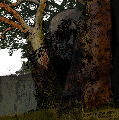 Roger the Giant Hermit. Ink and paintbrush, colors on photoshop. (2012) To support awarness of lonely giant hermits who live in the wild.