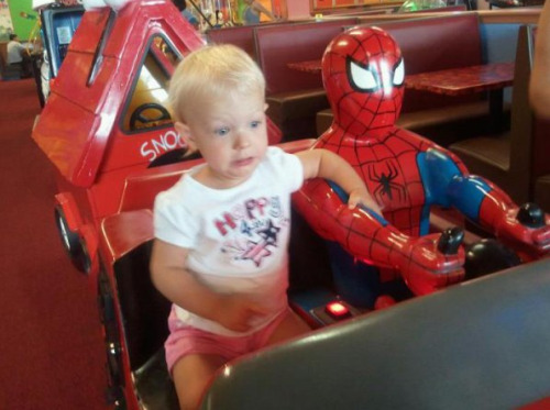 Toddler Scared by Spider-Man's Driving Slow down! PETER SLOW DOWN!