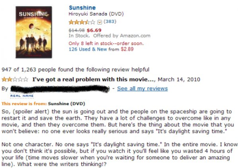 """Sunshine"" Receives Negative Review Due to Lack of Pun ""What were the writers thinking?"""
