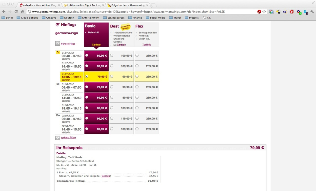 Same flight + different airlines = 42€ price difference
