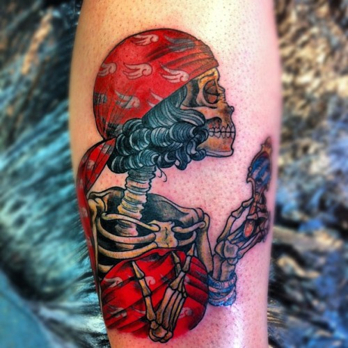 The other gypsy head for Billy's leg #tattoo #oliverjerrold #gypsygirl #skeleton #mirror #hopeandglory  (Taken with Instagram)