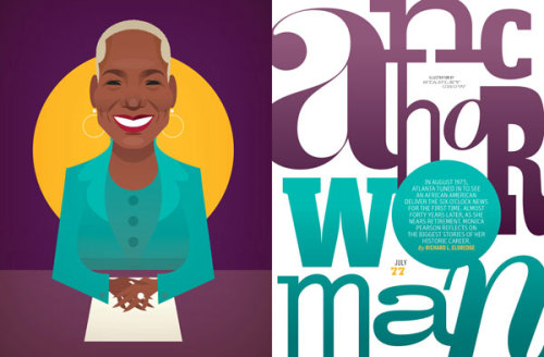 "Anchor Woman: The Story of Monica Pearson From the article:  As Monica Jones Kaufman Pearson (the anchor changed her professional name following her 2005 marriage to police officer John Pearson Sr.), sixty-four, exits the WSB-TV airwaves this month—thirty-seven years, thirty Emmys, and more than 15,000 hours of television later—she is the city's most recognizable media figure. ""There is no king in Atlanta TV news,"" says longtime coanchor Wes Sarginson. ""Only a queen. And our queen is Monica."" Pearson's debut on the six o'clock Action News in 1975 literally changed the face of Atlanta television. She has interviewed presidents and witnessed history, but Pearson's biggest story remains her own. In the summer of '75, when the South's largest TV station called Pearson at WHAS-TV in Louisville to ask if she would consider coming for a job interview, Pearson had no idea that Channel 2 was seeking a minority hire for its prime newscast. WSB-TV station manager Don Elliot Heald was a white, progressive Southern transplant from Concord, Massachusetts, who was determined that WSB reflect the city it served. He had hired Lo Jelks as the station's first African American reporter in the late 1960s. In 1973 he put Jocelyn Dorsey on air at noon as the station's first African American female anchor. One of her initial reporting assignments was to cover white supremacist J.B. Stoner announcing his run for lieutenant governor at the Biltmore hotel. ""When I walked in, the first thing I heard was 'Kill the nigger!'"" Dorsey recalls. Dorsey knew she wasn't in the running for the six o'clock job. ""I was pretty rowdy and militant back then,"" she says. ""I was too busy fighting with management about my afro.""  Read Rich Eldredge's full feature article Plus: Her thoughts on the biggest stories of her career and our archival feature on her from 1986 Illustration by Stanley Chow"