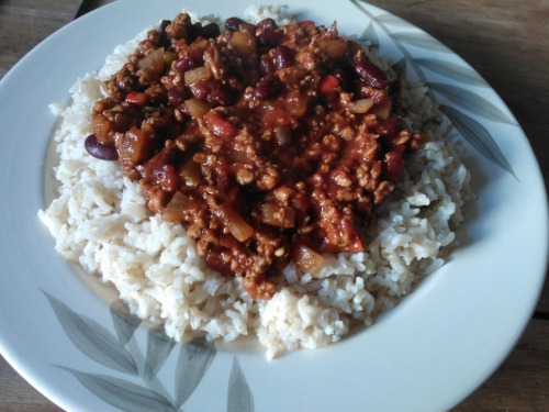 Dinner; huge portion of veggie chilli and rice.
