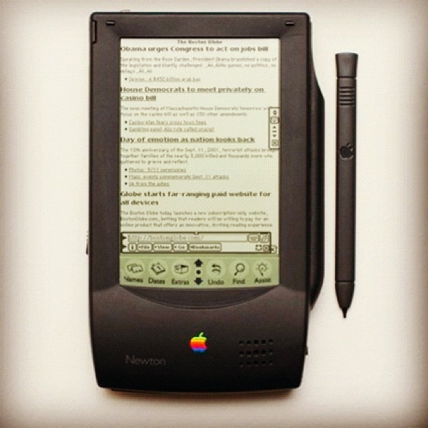 Boston Globe responsive design viewed in Apple #Newton. @lukew @splorp @RWD #aea #austin  (Taken with Instagram at An Event Apart Austin)