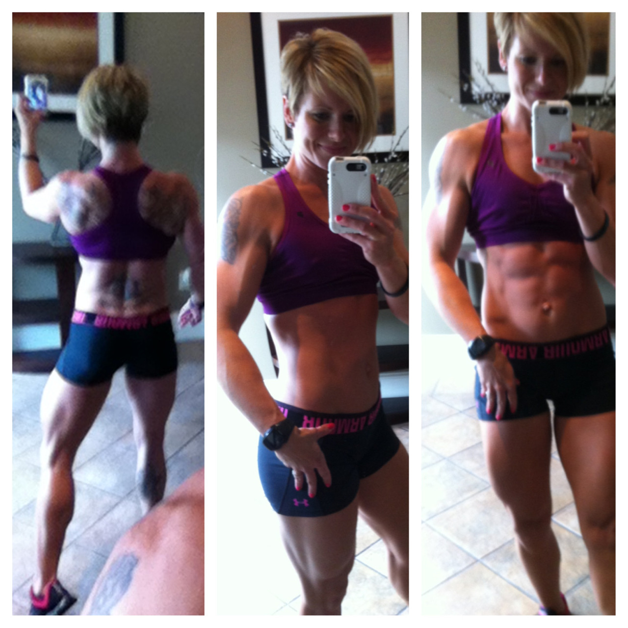 sweatforit:  Montage from after today's back session with JJ…feeling good!!  What a difference a high carb day makes, yesterday I felt SO flat and today I was much more pumped.