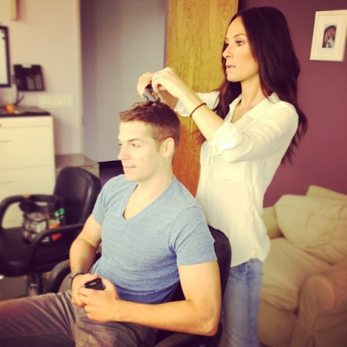Real men flat iron their hair @jasonkennedy1 @enews @eonline @livefrome (Taken with Instagram)