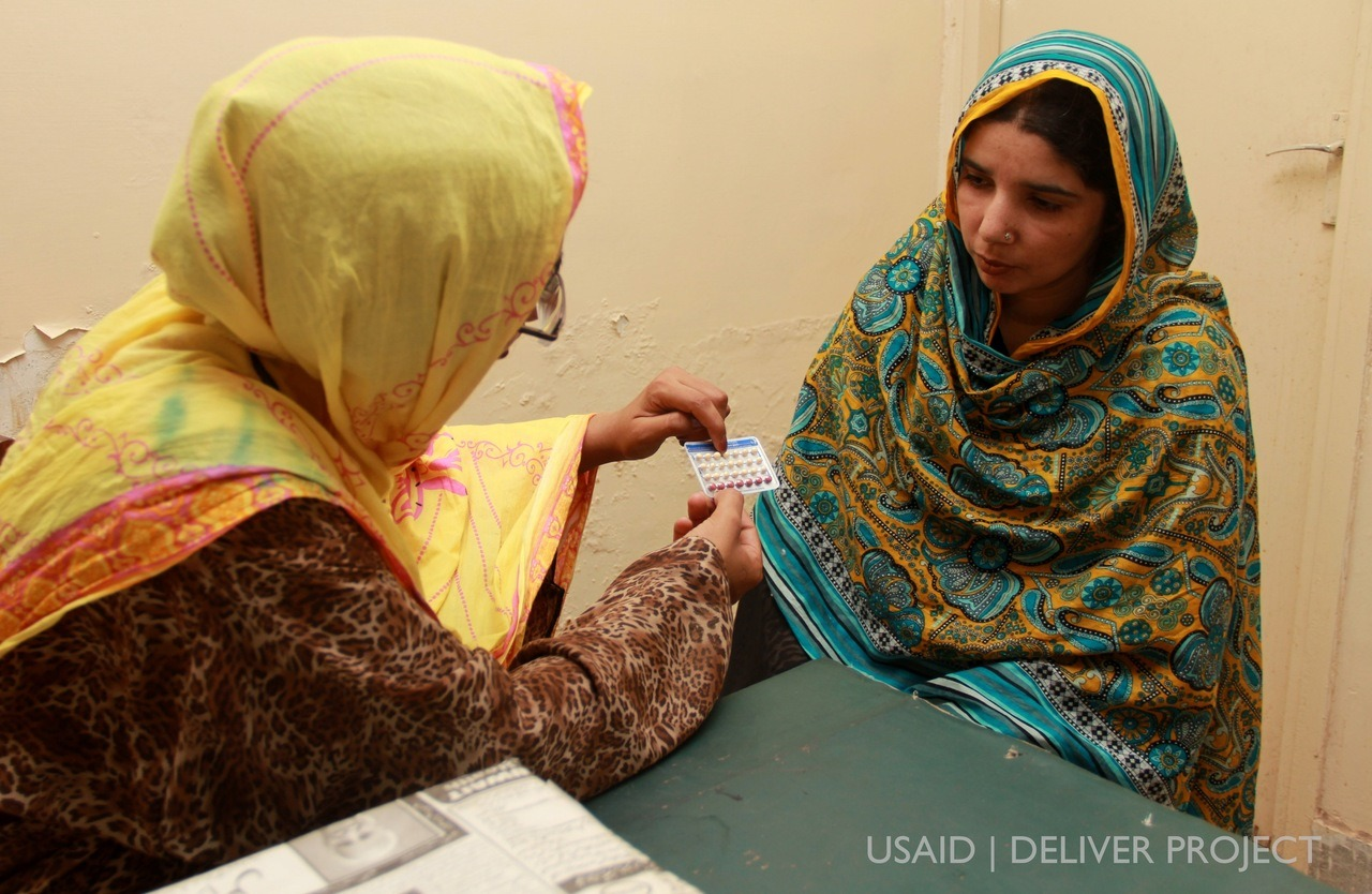 Photo Credit: JSI / USAID | DELIVER PROJECT Ghazala Anawar advises a client on family planning methods at the basic health unit in Sohan, Rawalpindi. Since 2009, USAID has provided funding to improve access to health supplies for people in Pakistan through its USAID | DELIVER PROJECT.  By providing reproductive health commodities to the Government of Pakistan, USAID helped avert an estimated 4.4 million unintended pregnancies, more than 230,000 infant deaths, and almost 10,000 maternal deaths from 2010-2011; the level of support provided for family planning commodities is associated with approximately an 18 percent increase in the contraceptive prevalence rate from 2010 to 2011 alone, suggesting that USAID support is rapidly helping to met the needs of Pakistani couples.
