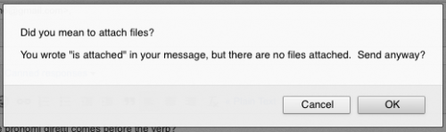 "Stumbled upon this prompt on Gmail the other day… when you write ""is attached"" in an email but don't attach any files, you get this great proactive message."