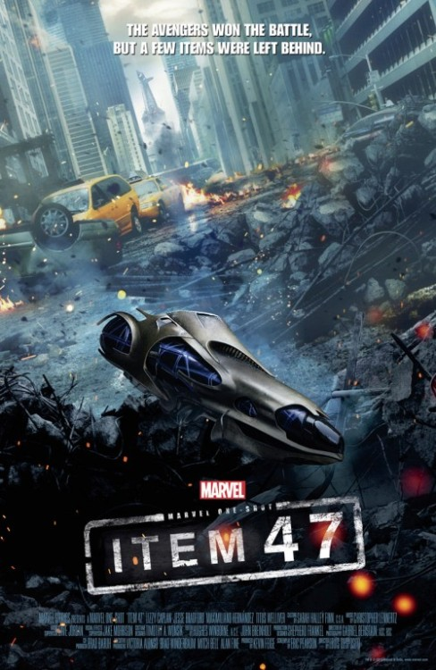This is the poster for Item 47 Marvel's sort of spin-off from The Avengers. It's a short film about a couple who get hold of an alien gun after the events of the film and proceed to go on a crime spree.  It stars Jesse Bradford and Lizzy Caplan and is showing at Comic-Con Friday - but for those of us not lucky enough to be there will be on The Avengers Blue-ray.