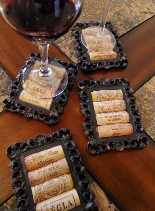 DIY coasters made from wine corks and old picture frames.    MUST MAKE THESE!!!!