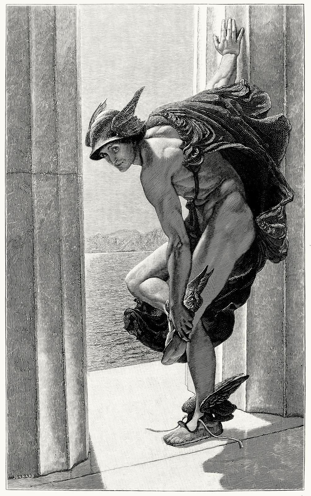 oldbookillustrations:  Hermes, after a painting by W. B. Richmond.  From The magazine of art vol. 9, London, Paris, New York, Melbourne, 1886.  (Source: archive.org)