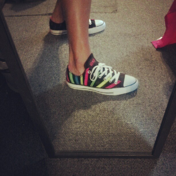 New shoes #converse #newshoes #lowrise #pink #yellow #neongreen #blue #black #white  (Taken with Instagram)