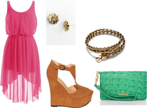 Casual Night Out by cupcakenova featuring gold banglesChiffon dress, $62 / Wedge heels, $54 / Brahmin  handbag / Alex and Ani gold bangle / Kate Spade  earrings