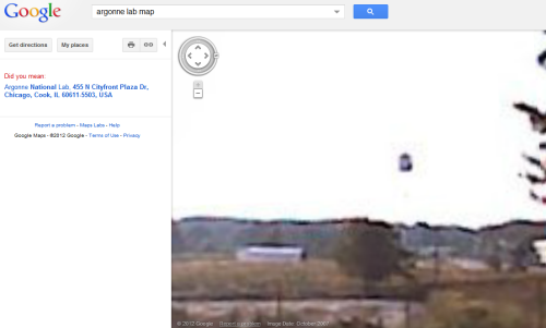 "TARDIS on Google Maps Not sure how and why this happened. But Google magically brought me here. I opened up an old tab and BOOM! There it was, but I feel like I've seen this before. Perhaps this is old news that I missed or it is so old that I forgot it existed. It totally looks like the Tardis. Either way, here it is. Marvel at it. Link: https://maps.google.co.uk/maps?q=argonne+lab+map&oe=utf-8&client=firefox-a&hl=en&t=h&layer=c&cbll=41.713823,-87.960593&panoid=p6X2elDfGUYmAlUjsxh1Yw&cbp=12,271.03""2,-4.15&ll=60.283408,-95.009766&spn=0,78.662109&z=4&authuser=0&ie=UTF-8"
