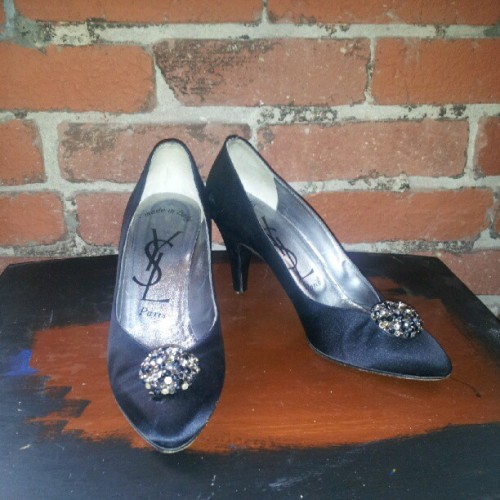 Just in: #YSL black #satin heels with #jewel cluster detail, size 8, $80. #vintage #fashion #downtownlosangeles  (Taken with Instagram)
