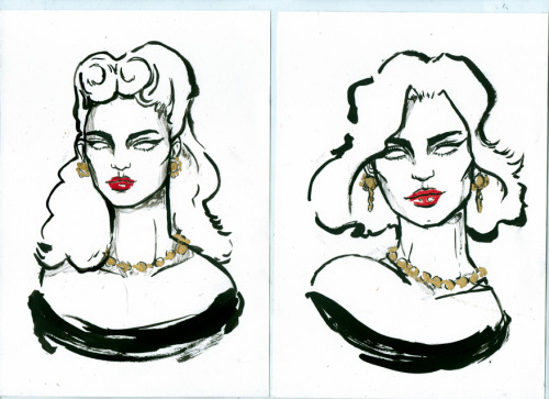 Quick ink sketches (with a brush this time instead of a stick :P), vintage inspired. Please ignore how dirty my scanner is! oopss