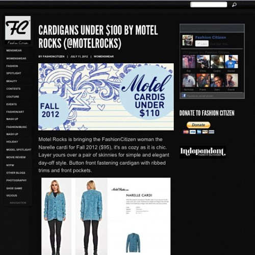 Today on Fashion Citizen : Cardigan's for under $100 from Motel Rocks. It's not too early to start prepping for your fall wardrobe ladies !! Check the feature out at fashioncitizen.com/fc (Taken with Instagram)
