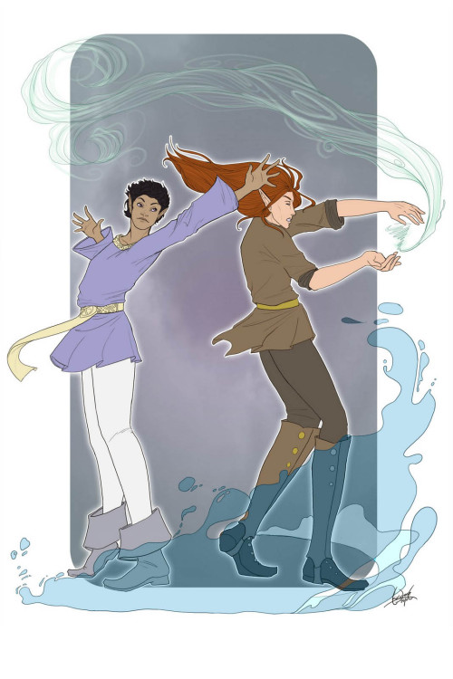 Salo and Quinne training, by skardash.tumblr.com Love their poses so much!  Little do they know how much they actually have in common… Sweet guys, both of them. How Aristophe spawned Quinne….*dies*  More info on Winterborn and them : http://www.uneide.com/art/winterborn.php