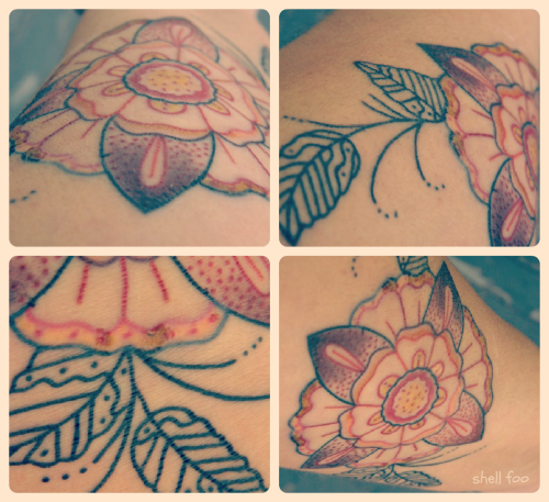 shellfoo:  new tattoo! {original art/ink by Ian Jones}  prettypretty! i am happy to see you back on tumblr as well! xo
