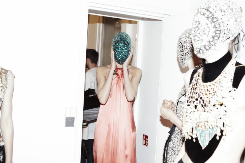 backstage at MAISON MARTIN MARGIELA, Paris 2012; from self service magazine.