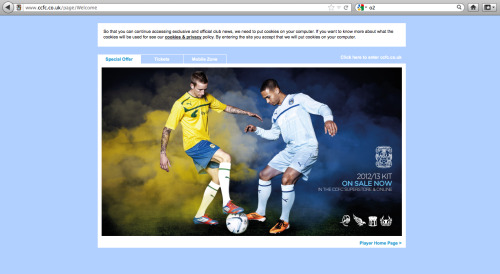 amymaidment:  My photo on the opening page of the Coventry FC website..