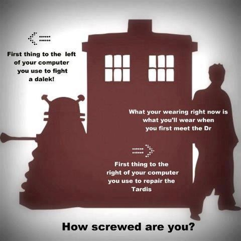 "fuckyeahdaleks:  thenerdgirlshavethephonebox:  I fight the Daleks with my lamp, I'm wearing skinny jeans, combat boots, and a ""bowties are cool"" T-shirt, and repair the TARDIS with my sisters phone. Convienient.  I meet the Doctor in a blouse and leggings, repair the TARDIS with my iPod, and fight the Daleks with a … rowing machine?  Huh.  I use a metal baby gate/fence to trap the delinquent daleks who dare to disrupt me, repair the TARDIS with a portable television, and we already know I wore this when I met the doctor."