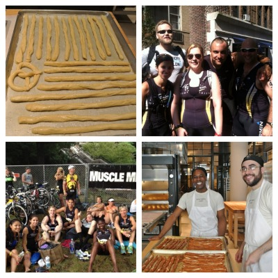 This past weekend Team Le Pain Quotidien participated in the New York City Triathlon and after months of training our athletes did phenomenally well!  To help revive the racers post-triathlon, the bakers at Bleecker Street decided that nothing would be better than some tasty carbs (as is always the baker's answer).  Joe & Daniel baked dozens upon dozens of pretzel sticks that were enjoyed by all after their hard work was done. Congratulations to everyone who participated!