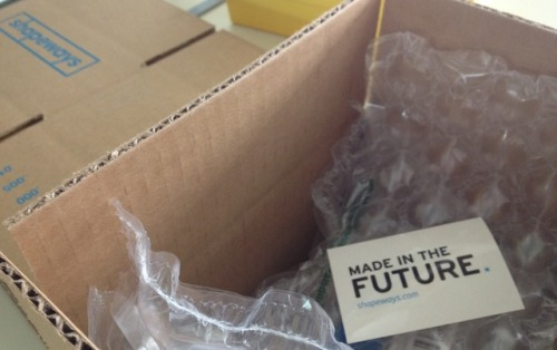 Shapeways 'Made in the Future' Stickers are Now Shipping You may start to see a special little something start to appear in some of your packages from Shapeways over the coming weeks as we randomly include our Made in the Future stickers into boxes. We would love to see where you put your stickers, whether on your laptop, car, bike, well, everywhere… Shoot a photo of your sticker in the wild and post it on Twitter, Tumblr, Instagram, Flickr with the hashtag #madeinthefuture and we will send out some Shapeways T-Shirts to our favorites… Here are a few sightings so far….