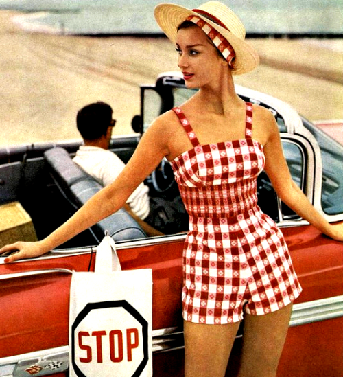 theniftyfifties:  Summer playsuit fashion from Mademoiselle, 1959.