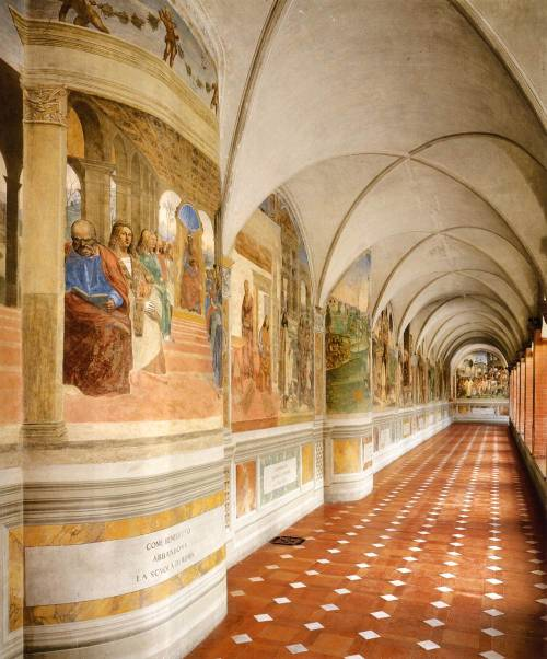 centuriespast:  SIGNORELLI, LucaThe Great Cloister1497-99FrescoAbbazia, Monteoliveto Maggiore  So beautiful, this is a bad Art.