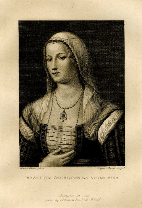centuriespast:  The so-called portrait of Madonna Laura, the muse of Petrarch,  after a painting said to be by Simon Memmi; open letter state. 1819 Print made by Raphael Morghen The British Museum