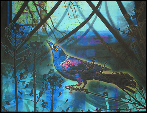 createcreatively:  Return of the Grackle by Diane Rusin Doran, 2010  Made by collaging  numerous images, both photographs and paintings, in Photoshop. Five panels were printed from the artist's computer onto silk and then machine quilted.