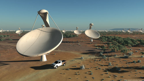 physicsphysics:  This $1.9 Billion Super Telescope Array Will Scan Space 10,000 Times Faster Than Ever Before From the Byrd telescope in West Virginia, to the Arecibo Telescope in Puerto Rico, to the MeerKAT system in South Africa, the world is not hurting for gigantic radio telescopes. These large arrays are precise and powerful, but come 2024, they will all be eclipsed by the capability of the Square Kilometre Array—a telescope system big enough to answer science's deepest questions about the nature of our universe. When it comes to radio telescopy, systems come in two varieties—humongous single dishes like 305-meter-wide Aricebo or as a collective of smaller individual dishes coordinating, like theMEERKAT array. Arrays boast a distinctive advantage over the dishes—the smaller individual dishes can be spread over a vastly larger area than a single dish could ever cover, granting the array a much greater collection area. Bigger collection areas translate into a larger searchable field of view and more data to study. The MeerKAT, current record holder for largest and most precise array telescope, has a collection area of about 18,000 square meters. When the $1.9 billion SKA is completed, it will provide, as its name suggests, a million square meters of collection area. It will be fifty times more precise than any other radio system on the planet, and it will be able to survey the sky ten thousand times faster than current systems. Ten thousand.  Read More