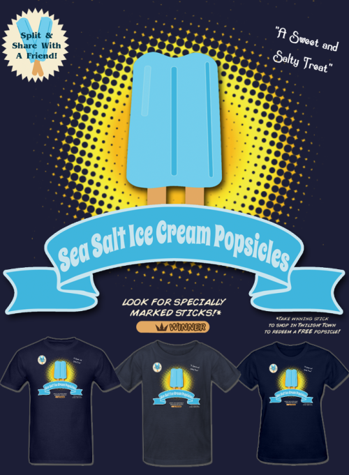 NEW Kingdom Heats Sea Salt Ice Cream Popsicle T Shirt! Summer's here so why not head to Twilight Town and pic yourself up a sweet and salty treat to help beat the heat? You could even win yourself a free popsicle! Available in Mens, Womens, and Kids/Teen sizes and a variety of colors. Follow Much Needed Merch on Tumblr and or Facebook (10% off code)