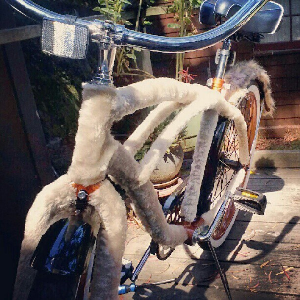 Almost done. Hand stitched furry cruiser for mom :) #burningman (Taken with Instagram)
