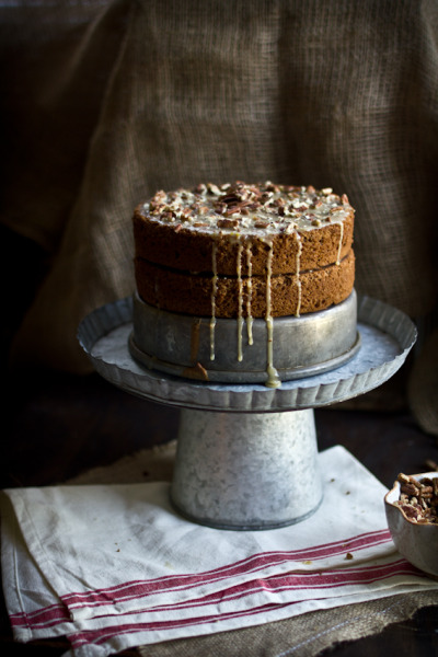 Hazelnut Buttermilk Cake with a Maple Pecan Glaze