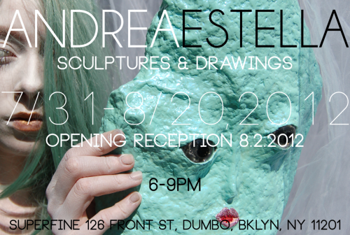 andreaestella:  My first art show! Mineral Men, Space Babes and my dog Amelia. All the pieces were made in 2012 during my wonderful break from touring in Twin Sister.  Come have drinks with me at my opening reception on August 2. My favorite musician, AVOXBLUE will be playing. The show will be funding a new short film I will be co-directing with Seamus Mcguire. The film is called CELESTITE and will hopefully be done by Autumn. Donate to the making of CELESTITE Thank you to Herb Hernandez, Tanya Rynd and Superfine for making this possible!! photographed by Gabel D'Amico