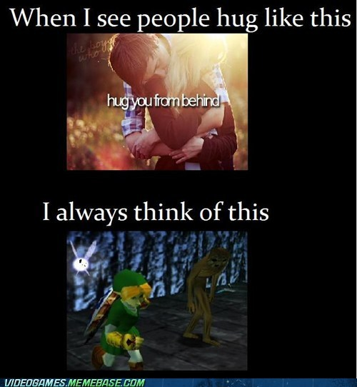 Why I freak out when I am hugged from behind. XD