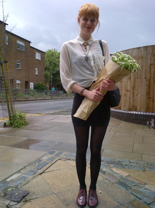 My best friend cradling a bunch of ever-lasting flowers we bought at the Hackney Flower Market! We both have half of the original bunch to signify our unrelenting love toward one another!  My bunch is currently sat on my window ledge, limp and brown as fuck…  BUT WE STILL LIKE EACH OTHER! :D